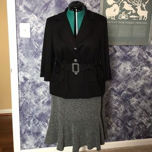 Two-Piece Belted Skirt Suit